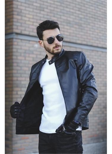 Oksit Oksit Tuci Demian Kısa Yaka Slim Fit S iyah Erkek Deri Ceket Siyah